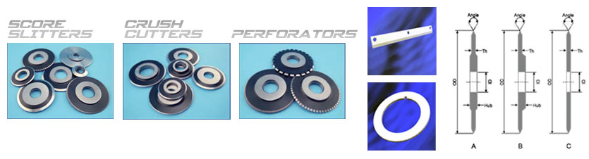 Slitters, crush cutters, and perforators for converting applications