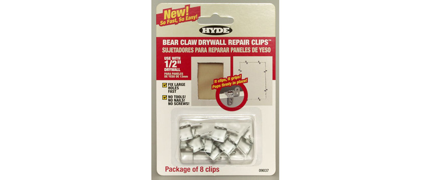 Hyde Tools 09037 Bear Claw Drywall Repair Clips, 1/2 (8)