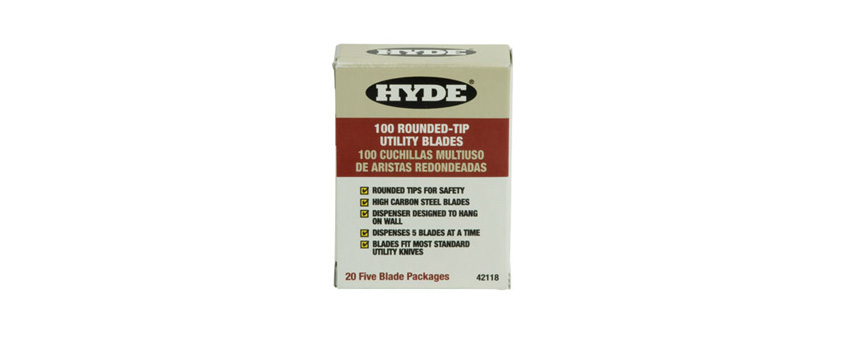 Hyde Tools 42118 Rounded Tip Utility Knife Blades (100)
