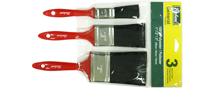 Richard 80000 1'' - 2'' - 3'' straight paint brush, PAINT BRUSHES SET series. Polyester, plastic handle.
